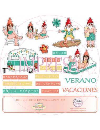 """Die cuts  """"Vacaciones"""" IMPRESA"""